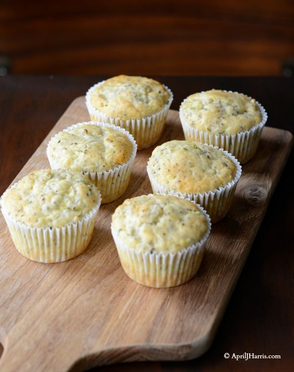Zucchini Lemon and Chia Seed Muffins Recipe on AprilJHarris.com