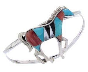 Multicolor Inlay Sterling Silver Horse Bracelet AW65693 SilverTribe. $118.79