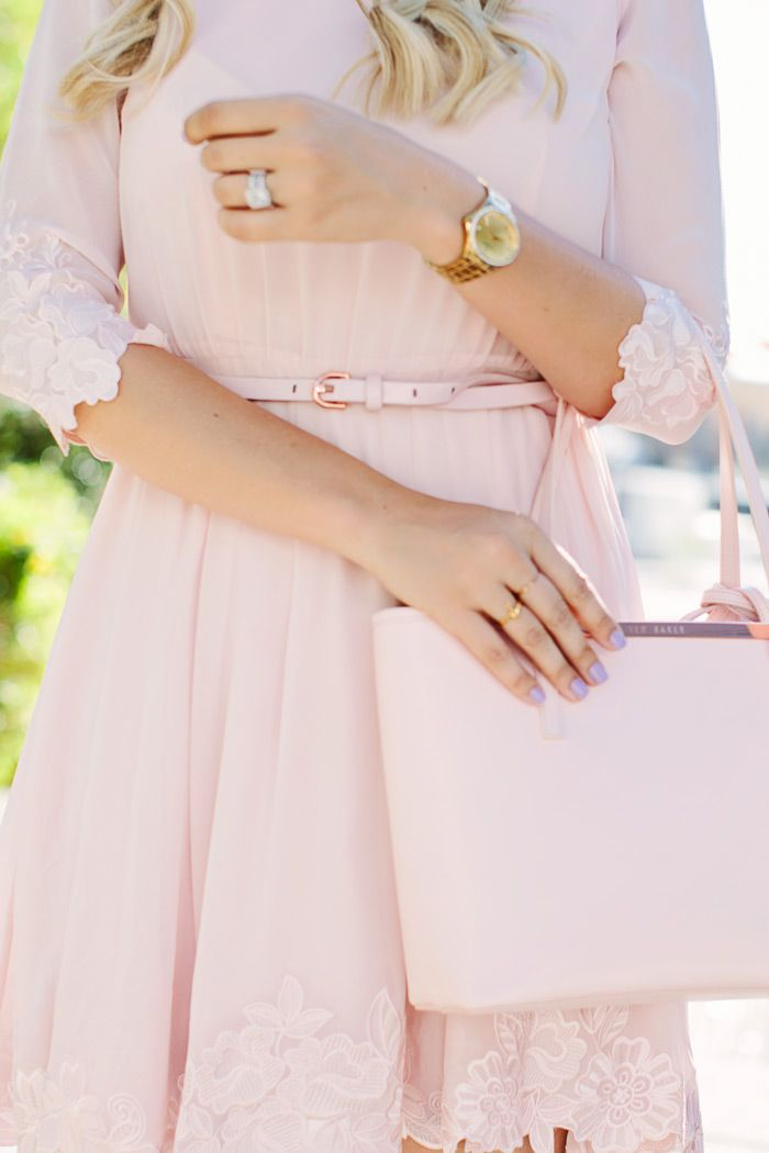 Ted Baker pale pink embroidered lace belted dress, Ted Baker small crosshatch leather shopper, and Miu Miu patent nude heels.