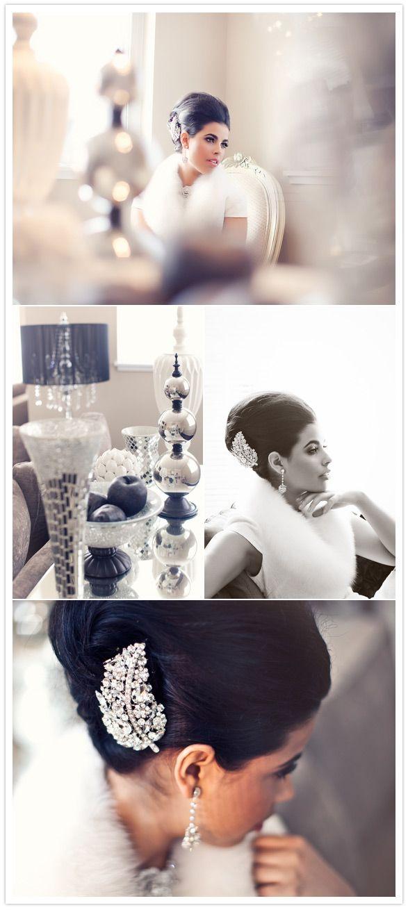 hollywood glamour bridal shoot - i like the hair clip