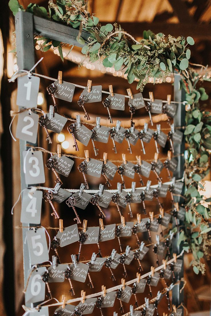 seating chart displays - photo by Kristen Curette Photography http://ruffledblog.com/charming-texas-wedding-with-boho-bridesmaids