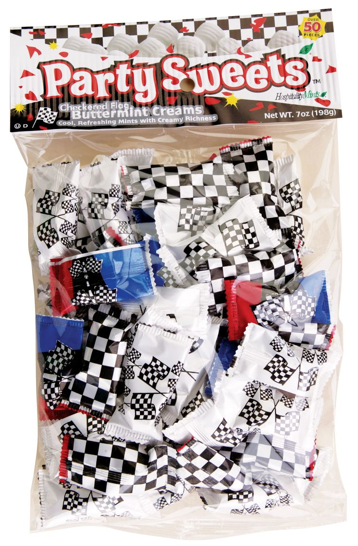 Racing themed buttermints. Great for racing themed wedding receptions or racing themed events.