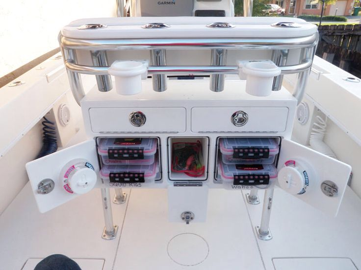 Leaning post storage, center console boat storage ideas