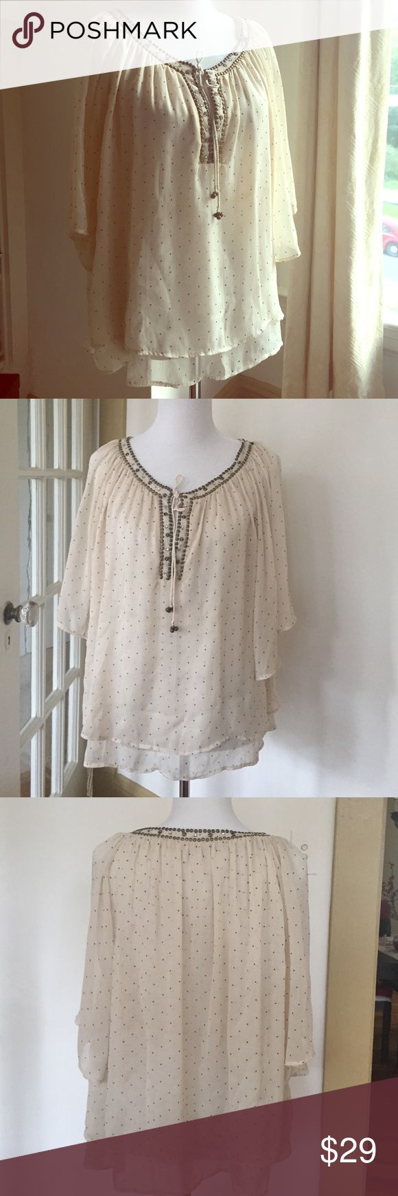 Zara embellished double layer flowing blouse, M Delicate boho piece. Double layer torso and bell sleeves. It runs big, more on the L side. No stains, no pilings. Great condition! Just a couple of non noticeable missing studs Zara Tops Blouses