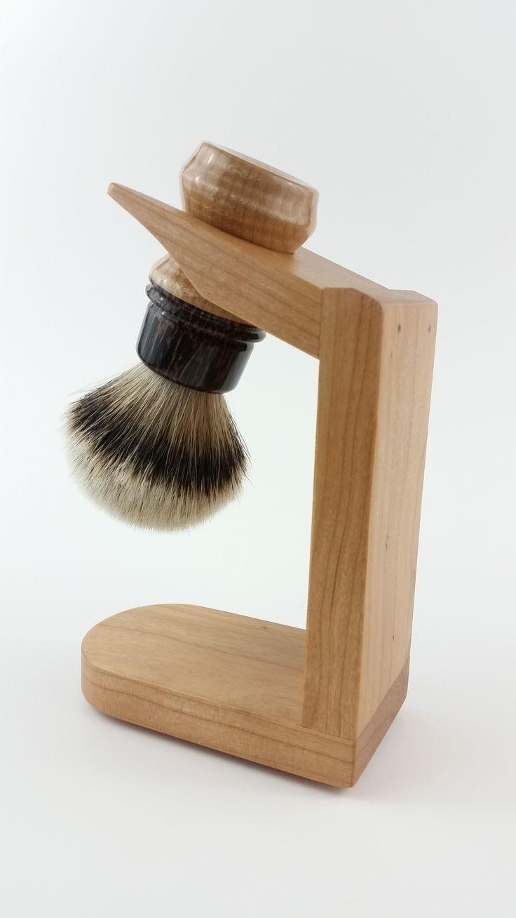 Langley City Shave Shop.. Custom Cherry wood Brush holder