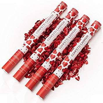 Konfetti-Shooter Herzregen mit Roten Metallic Herzen 60 cm lang – Konfettikanone Konfettishooter für Hochzeit Valentinstag Liebe & Co - Konfettibome Partypopper - PARTYMARTY GMBH®
