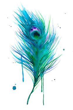 Watercolor peacock feather tattoo idea.