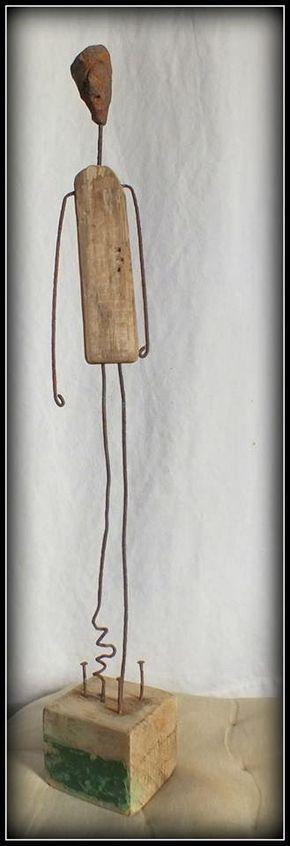 Attente, sculpture en bois flotté et métal drift…