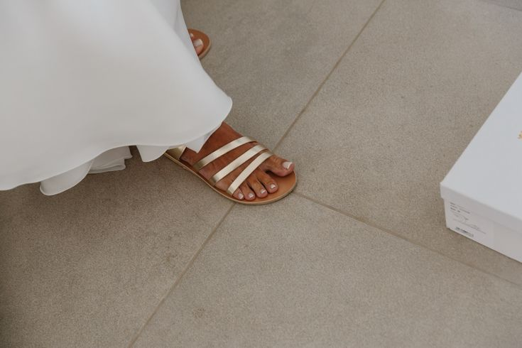 A wedding on Anafi Island | lafete, Greek sandals, flat shoes wedding, golden Ancient Greek sandals