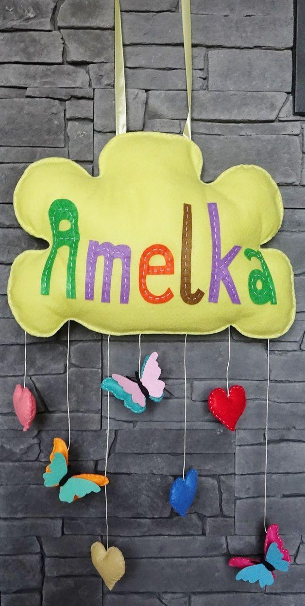 Chmurka z imieniem i zawieszkami z filcu handmade - Bajkowo - Dekoracje pokoju dziecięcego