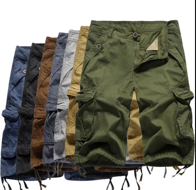 Summer Beach Pants Men's Casual Loose Much Pokets Big Trousers Fast Dry Surfing Beach Shorts Male Knee Length Shorts