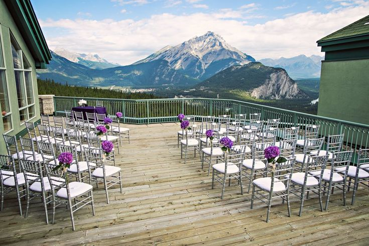 How gorgeous is this ceremony spot at Rimrock Resort in Banff, Alberta?!