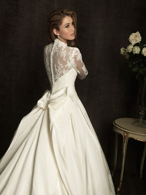 Ivory Satin Taffeta & Lace Illusion Long Sleeve Wedding Gown - Unique Vintage - Homecoming Dresses, Pinup & Prom Dresses.
