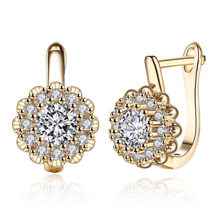 Gold/White Gold Plated AAA Zircon Flower Hoop Earrings Jewelry For Women E151 #Unbranded #Hoop