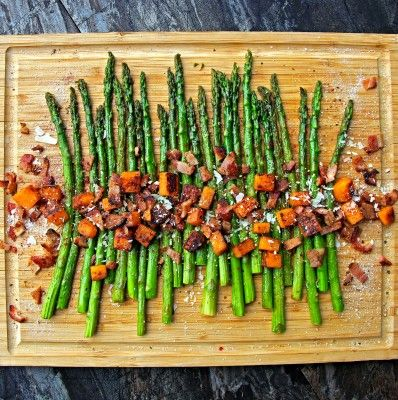 Roasted Asparagus & Sweet Potatoes with Homemade Bacon Bits & Shaved Parmesan | A Bachelor and His Grill