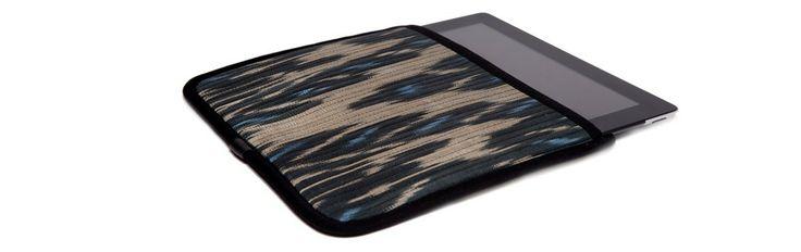 Чехол для Apple iPad, бежевый с голубым в черной окантовке