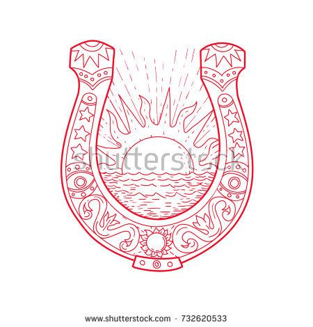 Drawing sketch style illustration of a Good Luck Horseshoe framing a rising Sun and ocean Sea with decoration inside on isolated background.  #horseshoe #drawing #illustration