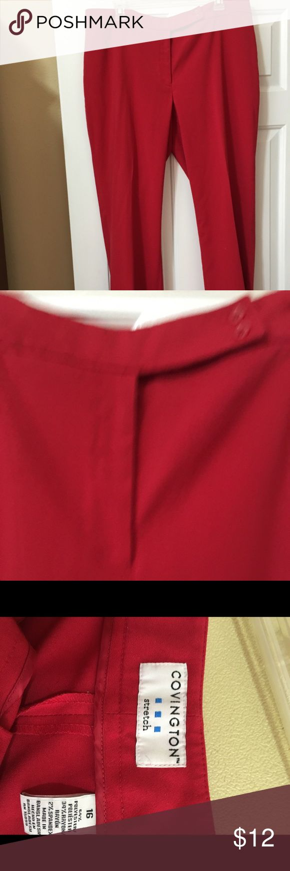 """Ladies dress pants Nice red ladies dress pants . Zip front. Waist is 38"""", hips are 48"""" and inseam is 29"""". Covington Pants Trousers"""