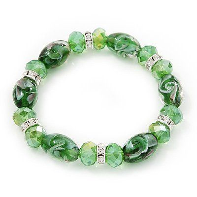 Floral Green Glass Bead & Crystal Ring Flex Bracelet - Up to 21cm Length Avalaya. $14.13. Material: glass. Wear On: wrist. Metal Finish: silver plated. Type: stretchy. Occasion: casual wear, cocktail party