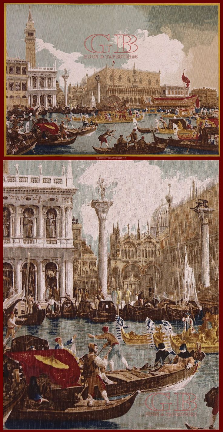 "Tapestry "" Venise "" De Rambouillet - Polychrome reproduction on textile of Canaletto . The reproduction of the original piece happens through long and scrupulous stages of workmanship to work of a équipe of artists of DE RAMBOUILLET"