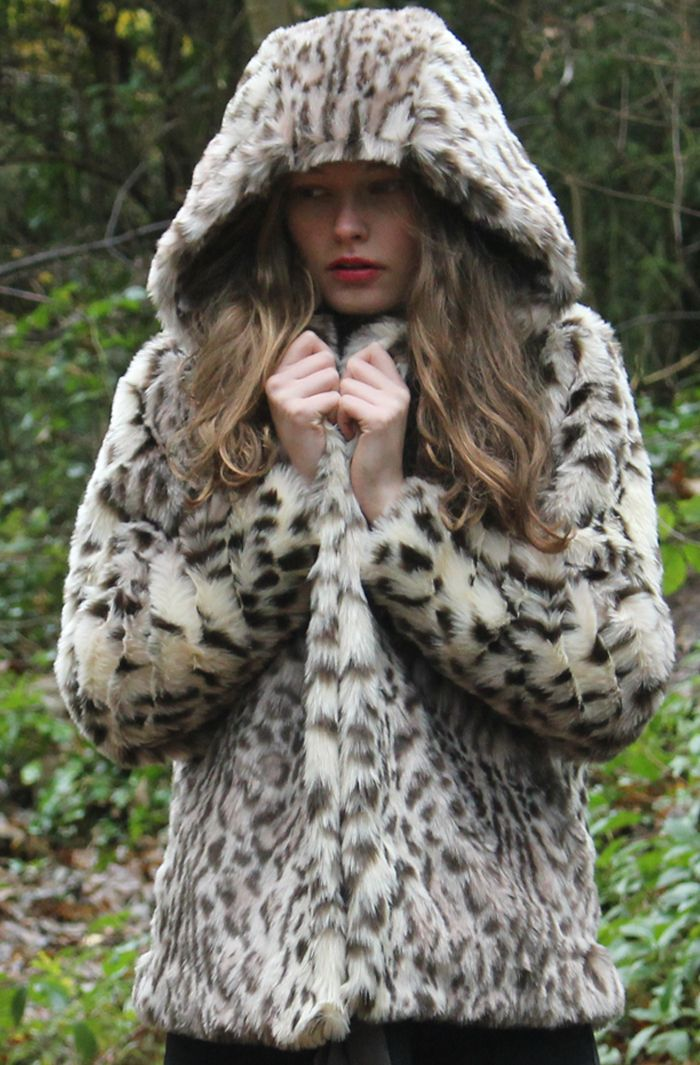 Snow Leopard Hooded Jacket Faux Fur Aw13 Ruby Ed Www