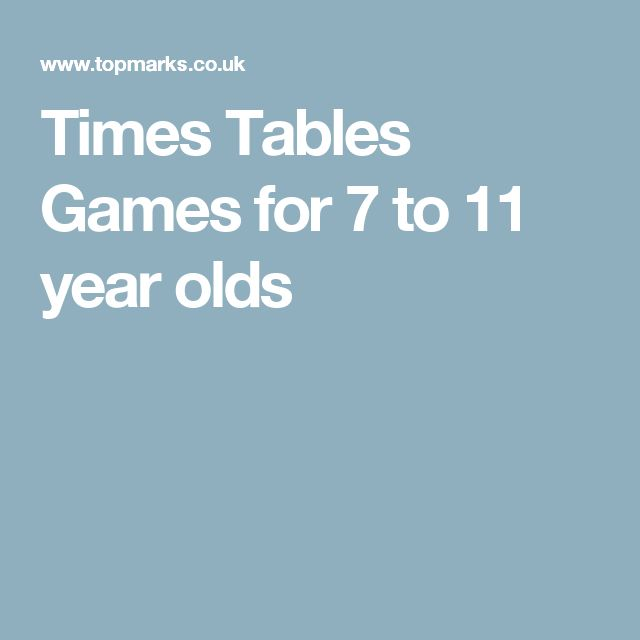 Times Tables Games for 7 to 11 year olds
