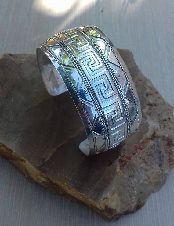Greek Meander Bracelet silver 999.Silver Cuff Bracelet Wide