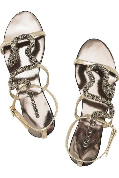 Roberto Cavalli Swarovski Crystal Snake and Leather Sandals