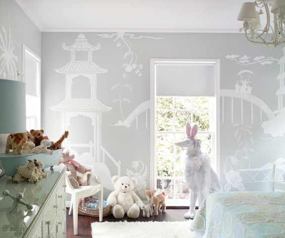chinoiserieChild Room, Nurseries, Little Girls Room, Wall Murals, Kids Room, Kidsroom, Baby Room, Gray Wall, Girl Rooms