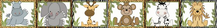 Jungle Zoo Wall Border Decals for baby boy nursery or young child's room. #decampstudios www.decampstudios.com