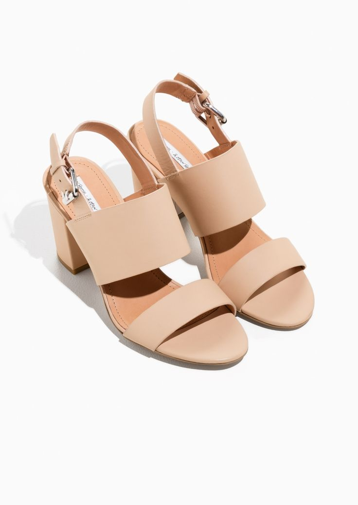 & Other Stories image 2 of Heel Strap Leather Sandalette in Beige