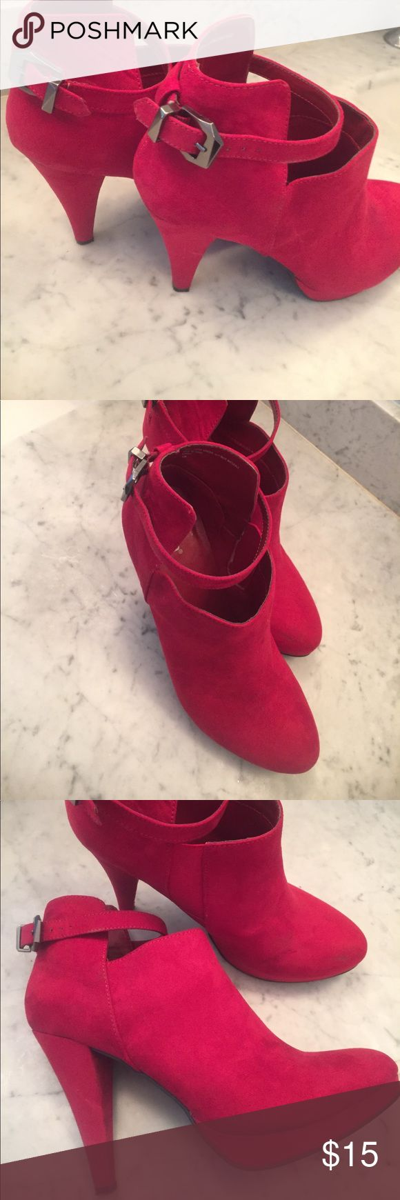 Size 10 suede red platform heels Whoa these are sexy And fun! Comfortable, high heel. Mint condition Diba brand Diba Shoes Ankle Boots & Booties
