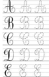 Alphabet ; majuscules, écriture cursive