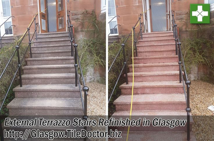 The photographs below are from a set of Terrazzo steps outside a house in Glasgow which had completely lost their colour after being subject to years of weather staining and believe me we see all sorts of weather up here in Scotland. The owner of the house wanted them restoring back to their natural state but naturally concerned about safety didn't want them shiny or slippy in anyway.