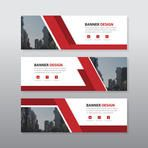 Red abstract corporate business banner template, horizontal advertising business banner layout template flat design set , clean geometric abstract cover header background template for website design,