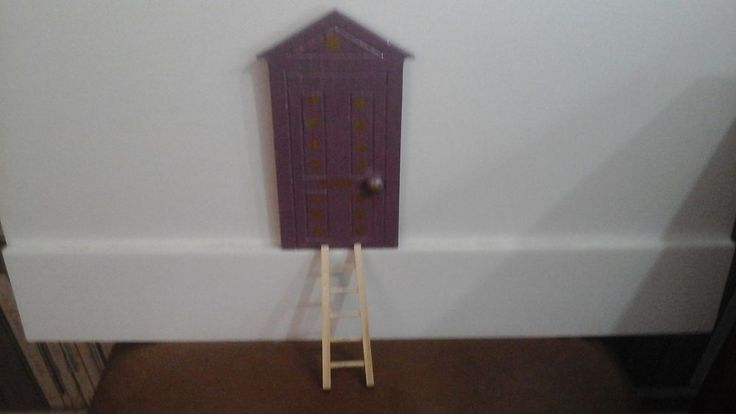 Handpainted Fairy Door Indoor Skirting Board Purple Stars Glitter Dust Ladder