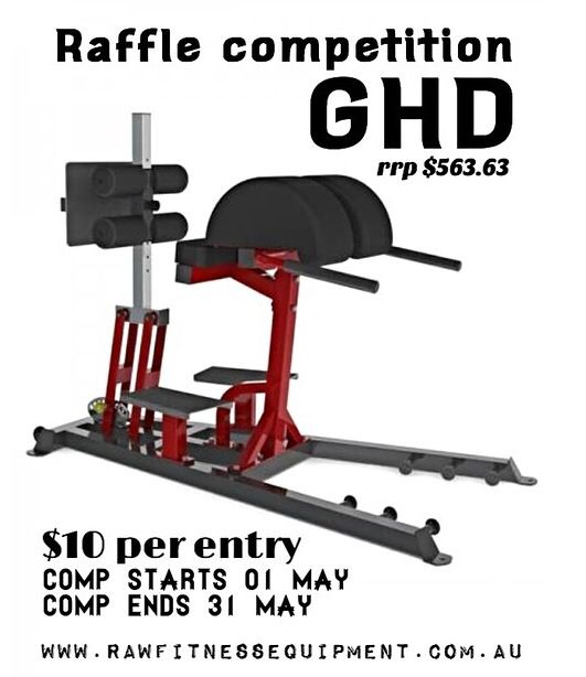 $10/entry for a GHD. All proceeds go to Rees and Josh for the journey to the CrossFit Games first teen division.   www.rawfitnessequipment.com.au Facebook: /rawfitnessequipmnt Instragram: rawfitnessequipment