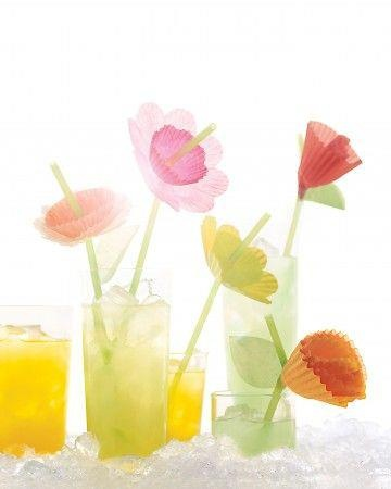 Use common baking cups to turn drinking straws into fanciful flowers to brighten up any beverage.