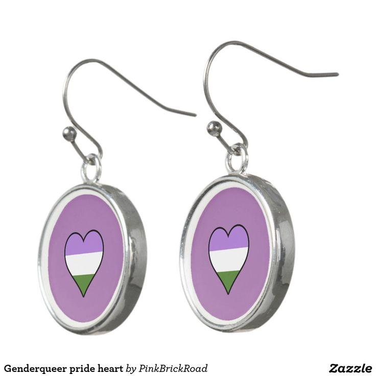 Genderqueer pride heart earrings