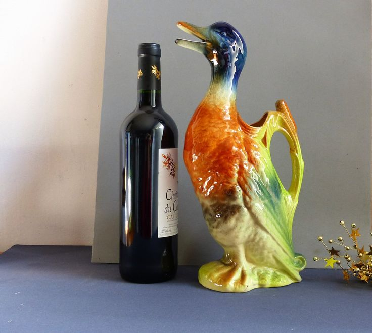French Vintage Majolica Saint Clement Malard Duck Shaped Wine Pitcher. Vintage Wine Decanter. Vintage Wine Pitcher. CHRISTMAS GIFT. French by JadisInTimesPast on Etsy