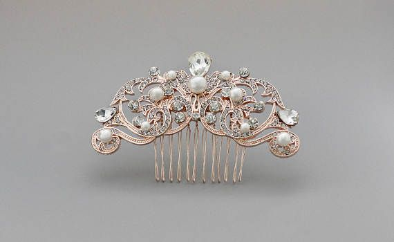 Rose Gold Crystal Hair Comb Vintage Wedding Hair Comb Ivory