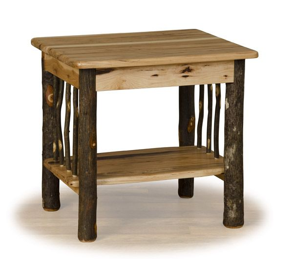 Hickory Log End Table, Log Nightstand, Cabin Furniture, Camp