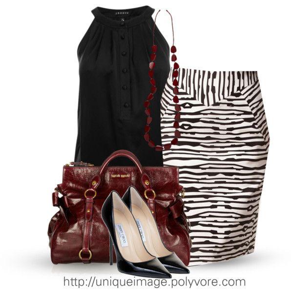 Black & White Pencil Skirt - Polyvore