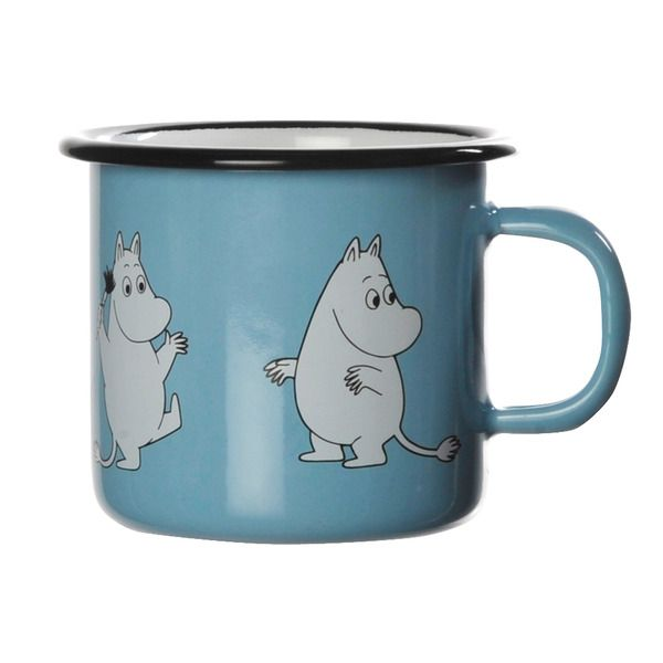 Skyblue smaller enamel mug featuring Moomintroll. Durable and easy to take care of makes it suitable for any home. Due to the smaller size it fits well in a smaller hand as well. Muurla combines design with durability in this retro enamel mug.
