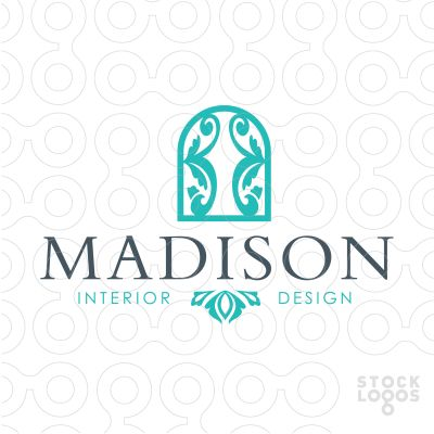Fancy window with emblemished curtain logo design for Interior design logos inspiration