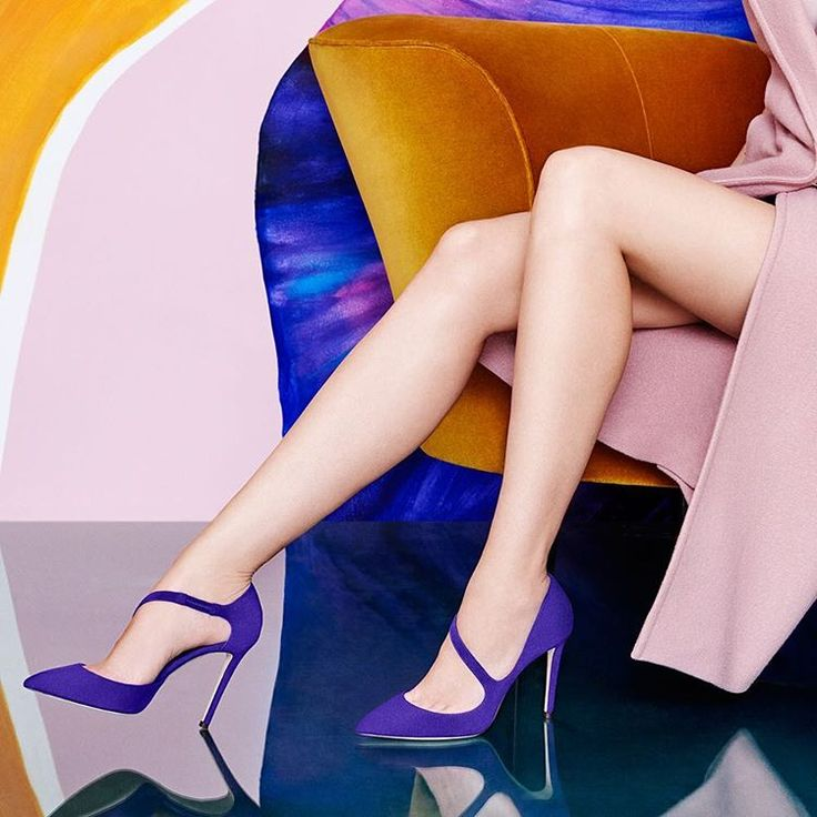 Wardrobe need a perk up? Look no further than these iris suede DAVOS pumps—with added va va voom guaranteed