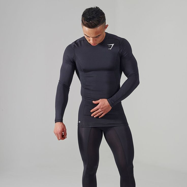 Gymshark Element Compression Top - Black   The Element Compression range has a flexible and dynamic compression fit for comfort and recovery. Shop now > https://gymshark.com/collections/all-products/products/gymshark-element-compression-top-black