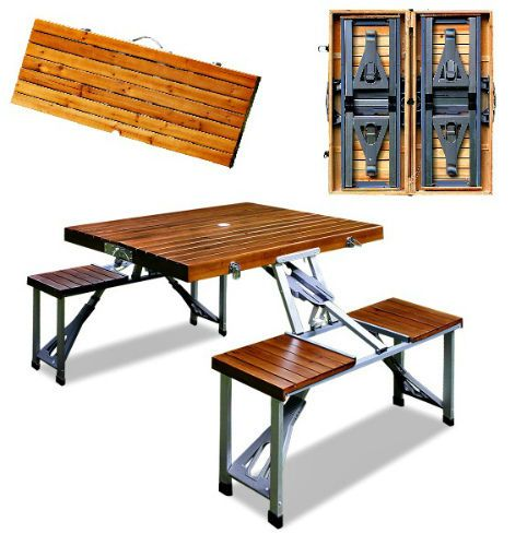 Folding Camping Table Bench Set Portable Picnic Outdoor Furniture Aluminium Wood #Unbranded