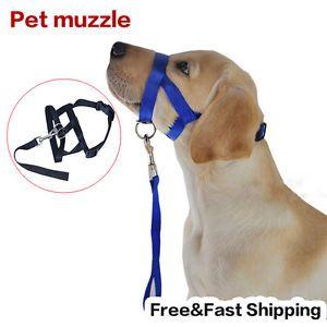 Black-Pet-Adjustable-Dog-Muzzle-Fabric-Nylon-Comfortable-Soft-No-Bark-Bite-Chew