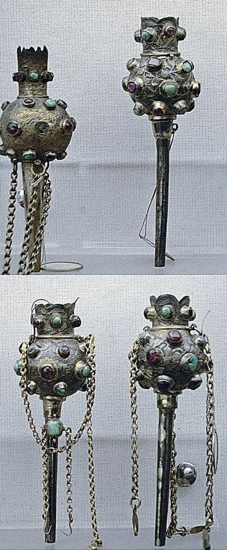 Turban ornaments (plume holders).  Ottoman, 16th/17th century.  Silver, gold and precious stones.  Used by both men and women.  (Türk ve Islam Eserleri Müzesi, Istanbul).
